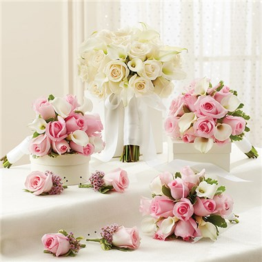 1 800 flowers pink and white personal package 1 white bridal 1 800 flowers pink and white personal package 1 white bridal bouquet 3 bridesmaid bouquets and 4 boutonnieres mightylinksfo